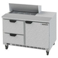 Beverage-Air SPED48HC-08-2 48 inch 1 Door 2 Drawer Refrigerated Sandwich Prep Table