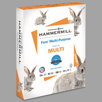 Hammermill 103283 Fore 8 1/2 inch x 11 inch White Case of 24# Multipurpose Copy Paper - 5000 Sheets