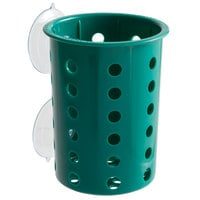 Steril-Sil PN1-HUNTER Hunter Green Perforated Plastic Flatware Cylinder with Suction Cups