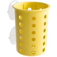 Steril-Sil PN1-YELLOW Yellow Perforated Plastic Flatware Cylinder with Suction Cups
