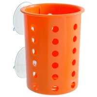 Steril-Sil PN1-ORANGE Orange Perforated Plastic Flatware Cylinder with Suction Cups