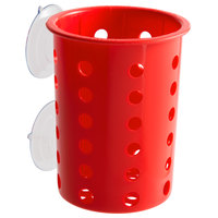 Steril-Sil PN1-RED Red Perforated Plastic Flatware Cylinder with Suction Cups