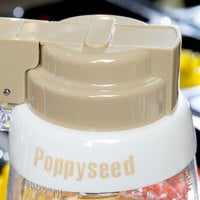 Tablecraft CB13 Imprinted White Plastic Poppyseed Salad Dressing Dispenser Collar with Beige Lettering