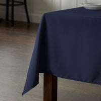Intedge 45 inch x 54 inch Rectangular Navy Blue 100% Polyester Hemmed Cloth Table Cover