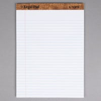 TOPS 7533 8 1/2 inch x 11 3/4 inch Wide Ruled White Perforated Legal Pad