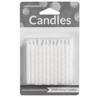 Creative Converting 080010034 White Spiral Candles - 24/Pack