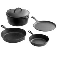 Lodge 5-Piece Pre-Seasoned Cast Iron Cookware Set - Includes 8 inch and 10 1/4 inch Skillets, 10 1/2 inch Griddle, and 5 Qt. Dutch Oven