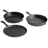 Lodge 3-Piece Pre-Seasoned Cast Iron Skillet Set - Includes 10 1/4 inch Skillet, 10 1/4 inch Grill Pan, and 10 1/2 inch Griddle