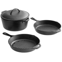Lodge 4-Piece Pre-Seasoned Cast Iron Cookware Set - Includes 10 1/4 inch Skillet, 10 1/4 inch Grill Pan, and 5 Qt. Dutch Oven