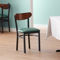 Lancaster Table & Seating Boomerang Black Chair with Green Vinyl Seat and Antique Walnut Back