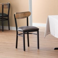 Lancaster Table & Seating Boomerang Black Chair with Dark Brown Vinyl Seat and Driftwood Back