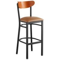 Lancaster Table & Seating Boomerang Bar Height Black Chair with Light Brown Vinyl Seat and Cherry Back