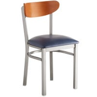 Lancaster Table & Seating Boomerang Clear Coat Chair with Navy Vinyl Seat and Cherry Back