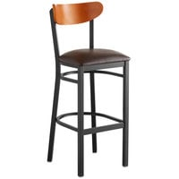 Lancaster Table & Seating Boomerang Bar Height Black Chair with Dark Brown Vinyl Seat and Cherry Back