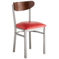 Lancaster Table & Seating Boomerang Clear Coat Chair with Red Vinyl Seat and Antique Walnut Back