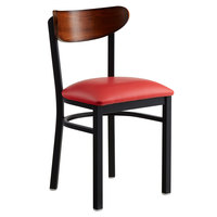 Lancaster Table & Seating Boomerang Black Chair with Red Vinyl Seat and Antique Walnut Back