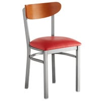 Lancaster Table & Seating Boomerang Clear Coat Chair with Red Vinyl Seat and Cherry Back