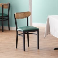 Lancaster Table & Seating Boomerang Black Chair with Green Vinyl Seat and Driftwood Back
