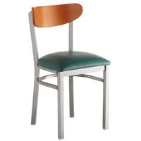Lancaster Table & Seating Boomerang Clear Coat Chair with Green Vinyl Seat and Cherry Back