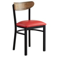 Lancaster Table & Seating Boomerang Black Chair with Red Vinyl Seat and Driftwood Back