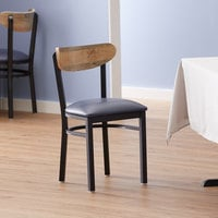 Lancaster Table & Seating Boomerang Black Chair with Navy Vinyl Seat and Driftwood Back
