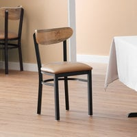 Lancaster Table & Seating Boomerang Black Chair with Light Brown Vinyl Seat and Driftwood Back