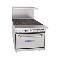 Bakers Pride 36-BP-0B-BROLR36-S30 Restaurant Series Natural Gas 6 Burner Radiant Charbroiler with 30 inch Oven - 280,000 BTU