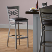 Lancaster Table & Seating Clear Coat Steel Cross Back Bar Height Chair with 2 1/2 inch Dark Brown Vinyl Seat - Detached Seat