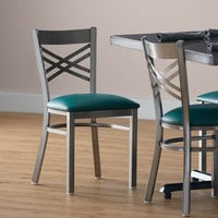 Lancaster Table & Seating Clear Coat Steel Cross Back Chair with 2 1/2 inch Green Vinyl Seat - Detached Seat