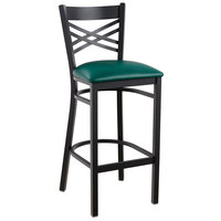 Lancaster Table & Seating Cross Back Bar Height Black Chair with Green Vinyl Seat - Detached Seat