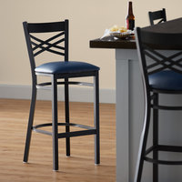 Lancaster Table & Seating Cross Back Bar Height Black Chair with Navy Vinyl Seat - Detached Seat