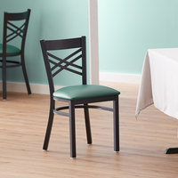 Lancaster Table & Seating Cross Back Black Chair with Green Vinyl Seat - Detached Seat