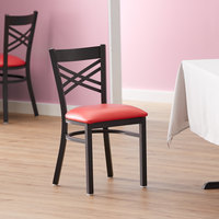 Lancaster Table & Seating Cross Back Black Chair with Red Vinyl Seat - Detached Seat