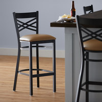 Lancaster Table & Seating Cross Back Bar Height Black Chair with Light Brown Vinyl Seat - Detached Seat