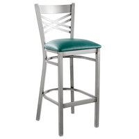 Lancaster Table & Seating Clear Coat Steel Cross Back Bar Height Chair with 2 1/2 inch Green Vinyl Seat - Detached Seat