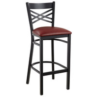 Lancaster Table & Seating Cross Back Bar Height Black Chair with Burgundy Vinyl Seat - Detached Seat