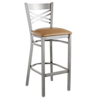 Lancaster Table & Seating Clear Coat Steel Cross Back Bar Height Chair with 2 1/2 inch Light Brown Vinyl Seat - Detached Seat