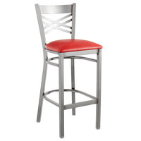Lancaster Table & Seating Clear Coat Steel Cross Back Bar Height Chair with 2 1/2 inch Red Vinyl Seat - Detached Seat