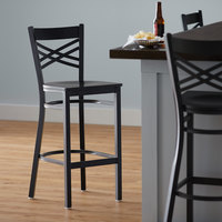 Lancaster Table & Seating Cross Back Bar Height Black Chair with Black Wood Seat - Detached Seat