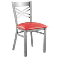 Lancaster Table & Seating Clear Coat Steel Cross Back Chair with 2 1/2 inch Red Vinyl Seat - Detached Seat