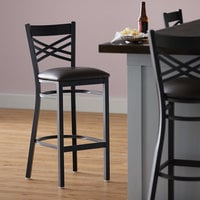 Lancaster Table & Seating Cross Back Bar Height Black Chair with Dark Brown Vinyl Seat - Detached Seat