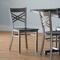 Lancaster Table & Seating Clear Coat Steel Cross Back Chair with Black Wood Seat - Detached Seat