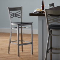 Lancaster Table & Seating Clear Coat Steel Cross Back Bar Height Chair with Black Wood Seat - Detached Seat
