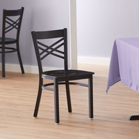 Lancaster Table & Seating Cross Back Black Chair with Black Wood Seat - Detached Seat