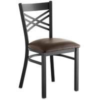 Lancaster Table & Seating Cross Back Black Chair with Dark Brown Vinyl Seat - Detached Seat