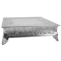Tabletop Classics by Walco AC87722 22 inch Floral Nickel-Plated Square Cake Stand