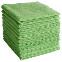 Knuckle Buster MFMP12GN 12 inch x 12 inch Green Microfiber Cleaning Cloth - 12/Pack