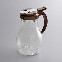 Vollrath 1414-01 Dripcut® 16 oz. Clear Polycarbonate Teardrop Syrup Server with Brown Top