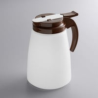 Vollrath 632-01 Dripcut® 32 oz. White Polyethylene Syrup Server with Brown Top