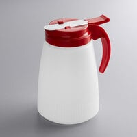 Vollrath 632-02 Dripcut® 32 oz. White Polyethylene Syrup Server with Red Top